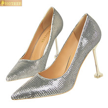 BIGTREE women pumps Sequined thin with high heel shallow mouth sharp sexy night store show single Pointed Toe women