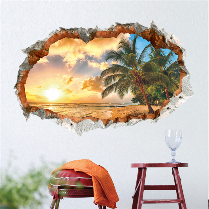 Sunshine beach sea sun tree 3d window hole view vinyl wall for Sticker mural 3d