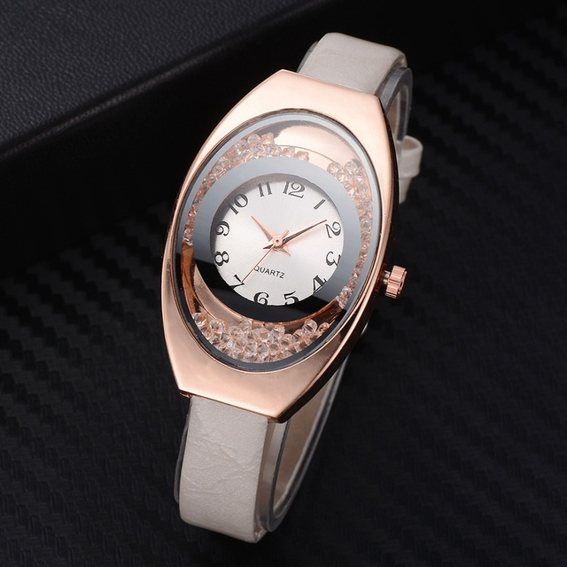 Women Bracelet Watches Leather Strap Watch Sport Quartz Wristwatch Rhinestone Ro