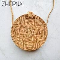 ZHIERNA Small Circle Straw Bags For Women Handmade Beach Bag Summer Holiday Rattan Handbags Butterfly Women