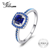 JewelryPalace Fashion 2 Ct Square Created Sapphire Blue Spinel Engagement Rings For Women 100 925 Sterling