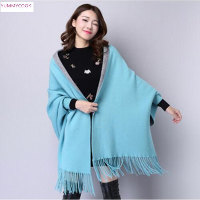 e2ada8dfa803ec Nwe Autumn women double-faced cashmere coat knit cardigan bat shirt tassel  cloak shawl Mixed wool sweater loose fashion coat 186