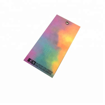 Custom logo design black print clothing labels Coated Dazzle colour Paper Hang Tag With String