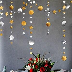 Image 2 - 4m 골드 실버 스타 서클 파티 장식 종이 Garlands 웨딩 스크린 장식 생일 파티 용품 소녀 침실 장식