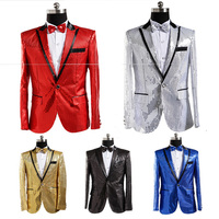Royal Blue Black Gold Silver Red Male Stage Jacket Sequin Blazer Mens Nightclub Singer Costume Studio Photos Show