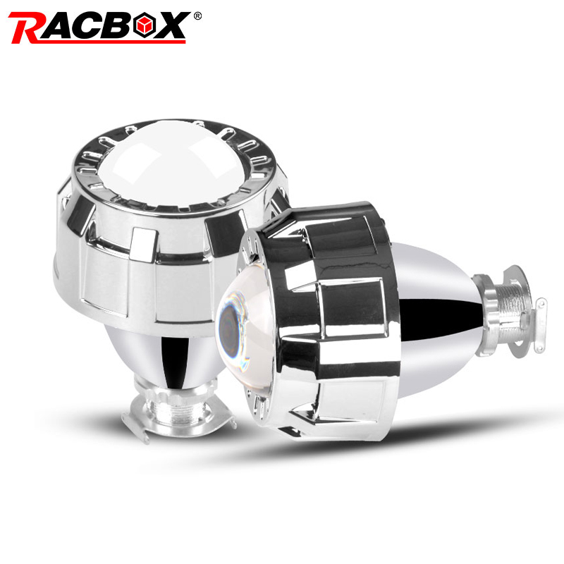 Racbox 2 0 inch mini HID Bi Xenon Projector Lens Sliver shroud H4 H7 Adapter Lamp