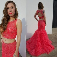 Red Two Pieces Mermaid Prom Dresses 2016 Plus Size Lace Appliqued Sexy Backless Women Party Gowns Vestidos De Baile Hot Sale