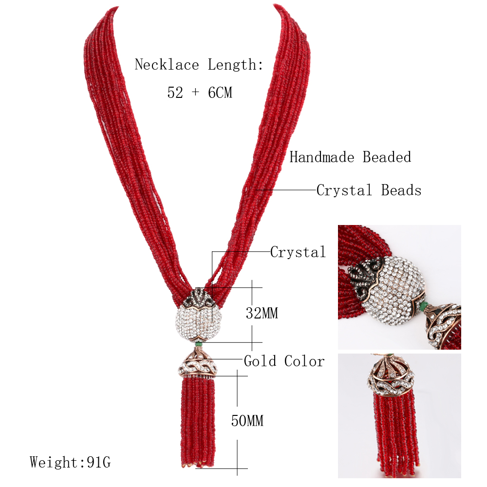 Kinel Womens Bohemia Tassel Pendants Chokers Necklace Red Crystal Beads Multi Layer Necklace With Semi-Precious Stones Jewelry