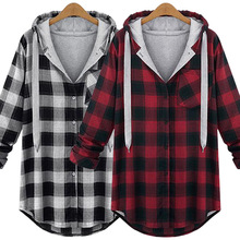New 2016 Autumn and Winter Women Jacket Coat Loose Large Sizes Plaid Jacket with Hooded Female Casual Street Style Plus Size