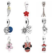 Btuamb New Arrival Lover Heart Tree Moon Flower Crystal Pendants Charm Beads Fit Women DIY Original Pandora Bracelets & Bangles(China)
