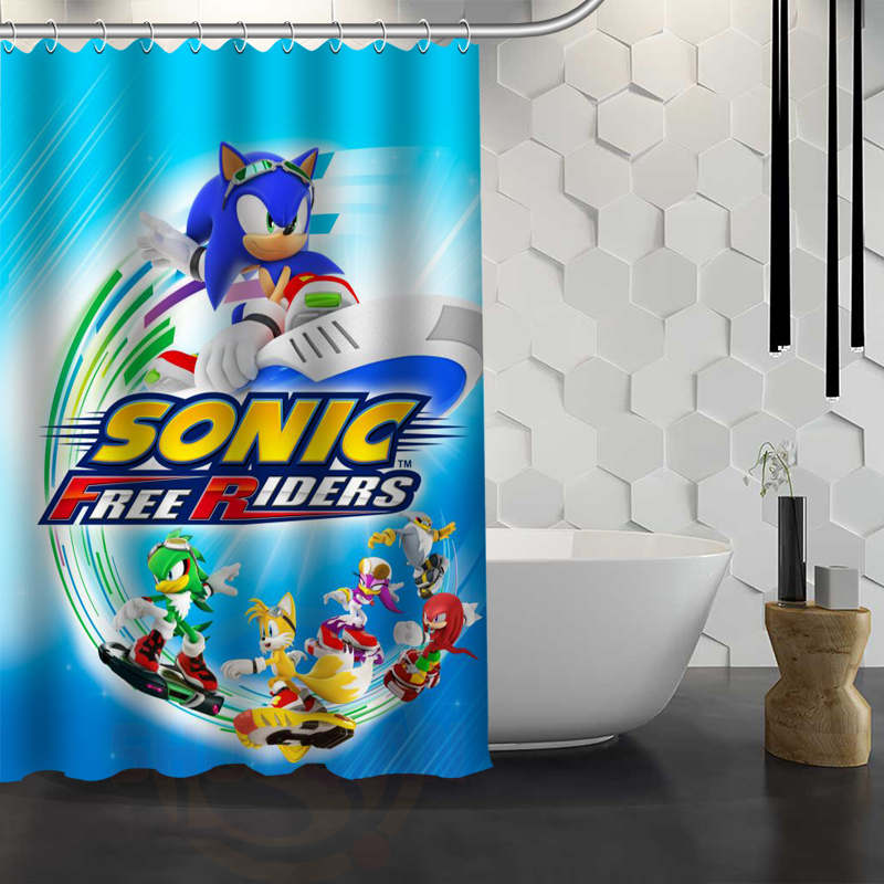 Custom Sonic The Hedgehog Shower Curtain Waterproof Fabric Shower Curtain for Bathroom WJY1.17