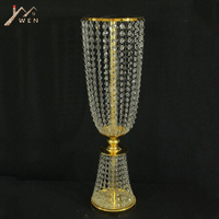 Gold Wedding Road Lead 80 CM Tall 22 CM Diameter Acrylic Crystal Pillar Table Flower Rack Wedding Centerpiece Event Party Decor