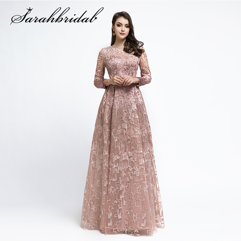 Woman Evening Dress Dubai Long 2019 Ceremony Elegant Party Gown Long Sleeves O-neck Beaded Embroidery Prom Dresses CC5481