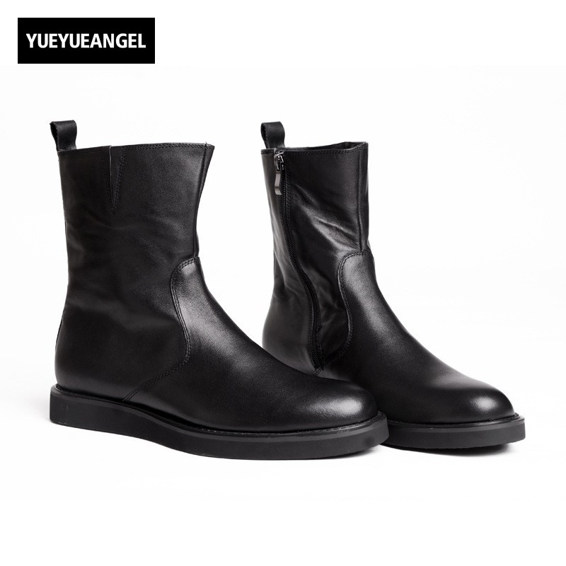 High Quality Mens Boots Male Side Zip Winter New Fashion Black Plus Size Male Casual Shoes Round Toe British Motorcycle Biker цена 2017