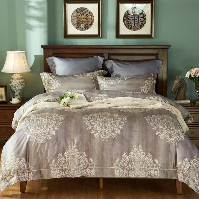 Luxury Bedding Set Queen Size Egyptian Cotton Home Textile Honorable Gilded Gold Duvet Cover King Bed Linens 1500tc