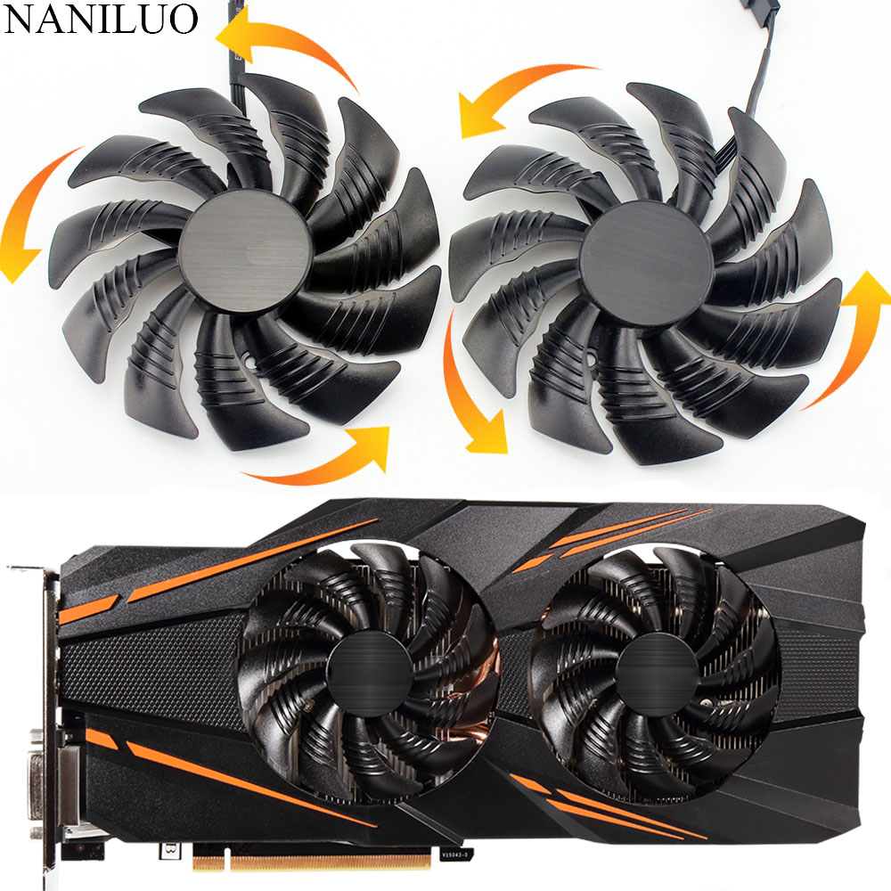 1 Piece 90MM Counterclockwise Leaves 1 Piece Single PLD09210S12HH Graphics Card Fans GPU Cooler for Gigabyte RX580 RX570 Gaming GTX1070 GTX 1070 GTX1070ti RX470 RX480 WINDFORCE Video Cards Cooling