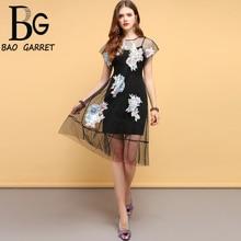 Baogarret Fashion Designer Summer Vintage Dress Women's Batwing Sleeve Appliques Mesh Overlay Elegant Ladies Vacation Dress