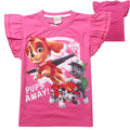 New princess sleeves girls cartoon dog patrols cotton short-sleeved T-shirt kid 3-7 years old of high-grade quality cute clothes