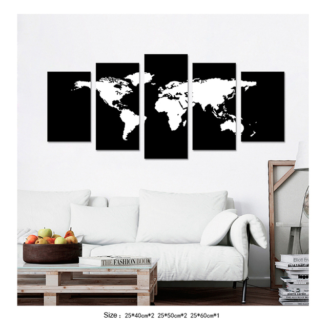5 pieces black and white world map canvas art print painting for 5 pieces black and white world map canvas art print painting for living room home decorative gumiabroncs Images
