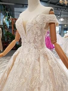 Image 5 - LSS083 เงาลูกไม้Blingแต่งงานปิดชุดไหล่sweetheartยาวvestido de novia Para Boda Civil corto