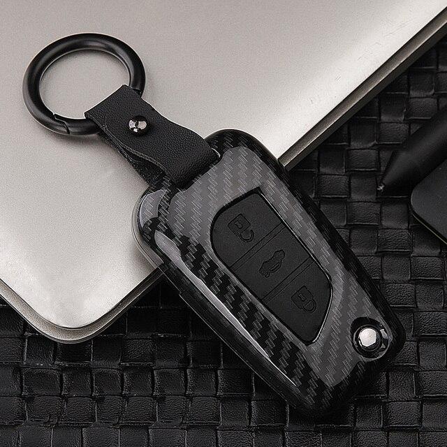 Fashion ABS Silica gel+Carbon fiber car key cover case protect For Toyota Camry CHR Prius Corolla RAV4 Prado Auris Corolla Avens
