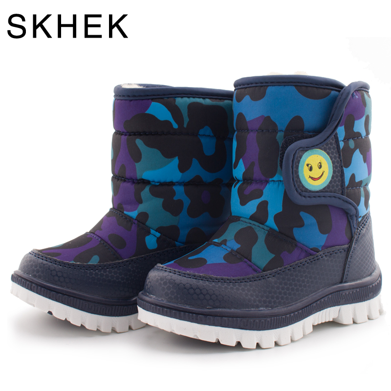 SKHEK Kids Winter Plush Boots Children Round Toe Design For Girls Boys Flat With Snow Boots Unisex Cotton Fabric Rubber Shoes