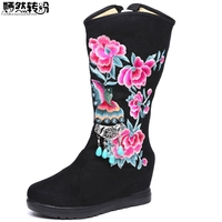 New Winter Women Boots Canvas Flowers Embroidered Mid Boots Zip Ladies Tall Pendant Black Booties Platforms