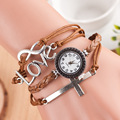 Fashion Stylish Cross Love Genuine Leather Multi Knit Band Retro Vintage Bracelet Watches Wristwatch Clock for Women Female Girl