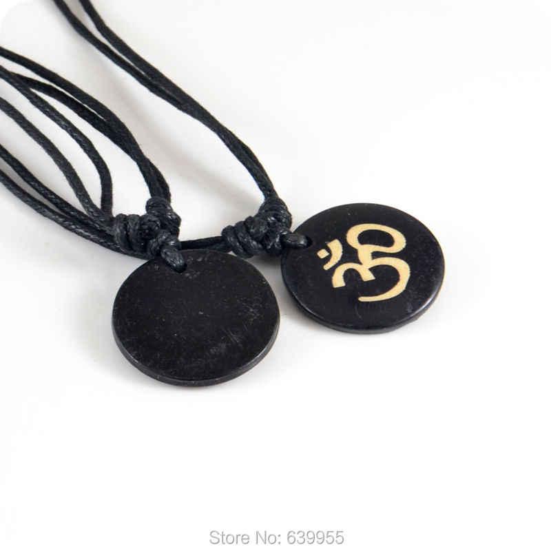 Amuleto de Yoga budista hindú AUM OM Ohm, amuleto de colgante tallado de hueso de yak de la India, regalo de la suerte, joyería Tribal de moda
