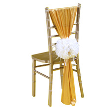 100PCS/Lot 5 Colors Wedding Decoration Chair Satin Sashes With Flowers Hotel Banquet Covers Flower