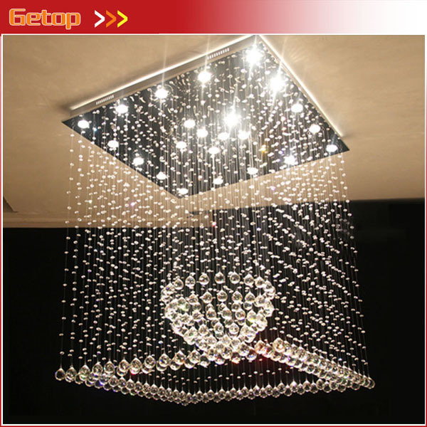 Best Price Square K9 Crystal Chandelier Living Room Restaurant Ball Crystal Ceiling Lamp LED Lighting Fixtrue cristal pendentes best price luxury crystal chandelier k9 crystal lamp living room bedroom modern restaurant round creative led lamps lighting