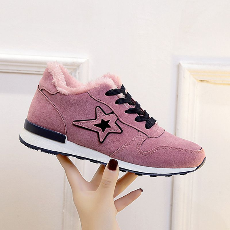 f0e5cd0af4d Detail Feedback Questions about 2018 Winter Plus Velvet Fashion Sneakers  Women Wild Flat Shoes Female Lace Up Casual Cotton Shoes Tennis Shoes  Outdoor ...