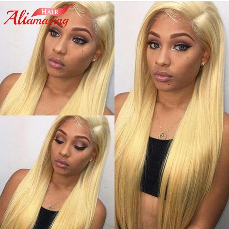 Али удивительные волосы Бразильский шелковистая прямая #613 блондинка парики, кружева предварительно сорвал Синтетические волосы на кружев