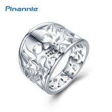 Pinannie натуральная 925 стерлингового серебра anillos Joyas де Плата черепа кольца ювелирных украшений для мужчин и женщин