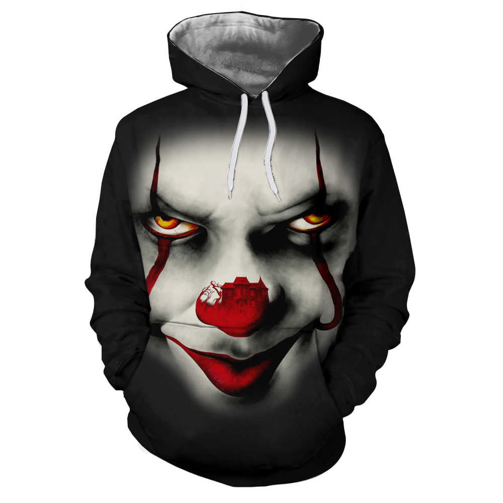 9ac10755c3a5 Big red nose clown Pennywise 3D Hoodie Sweatshirt Men Pullover Hoody Tops  Sudadera Hombre Casual Brand