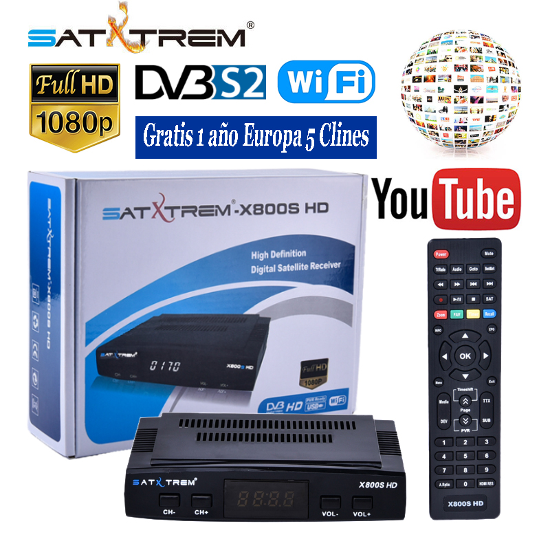 Satxtrem X800S HD DVB S2 Full HD 1080P Digital Satellite TV Receiver FTA Sat Receptor Box With Free 1 Year Europe C-lines