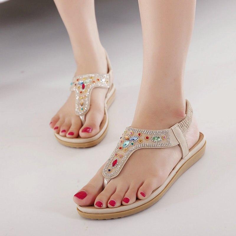 Gladiateur Tongs Élastique Sandale Designer blanc Chaussures String T Plat D'été Beige Bande strap Femmes Strass Sandales Ummewalo Sq1IPS