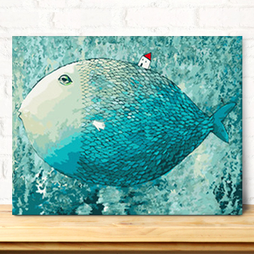 Blue Fish DIY Digital Abstract Painting By Numbers Wall Art Kids Gift Home Decor