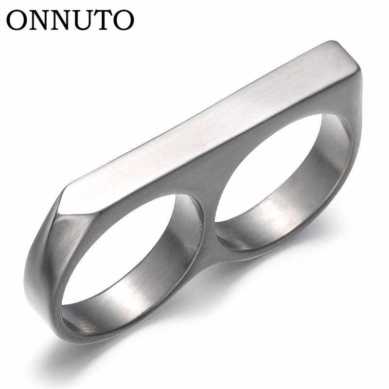 Two Finger Ring Vintage Stainless Steel Rings Cool Punk Party Big Statement Fashion Ring Men Finger Ring