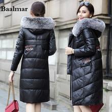 2017 Baalmar Long Leather Winter Coat Women With Luxury Fox Fur Collar Female Slim Leather Jackets Plus Size 4XL