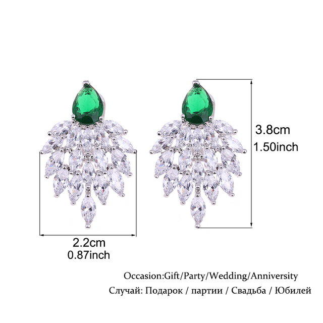 Green Cubic Zironia Jewelry Set Elegant African Wedding Jewelry Sets White Gold Dubai Jewelry Sets parure bijoux femme WS113