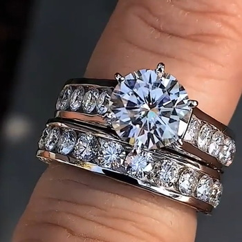 Hot Sale Bling Zircon Stone 925 Sterling Silver Ring Set Wedding Engagement Jewelry
