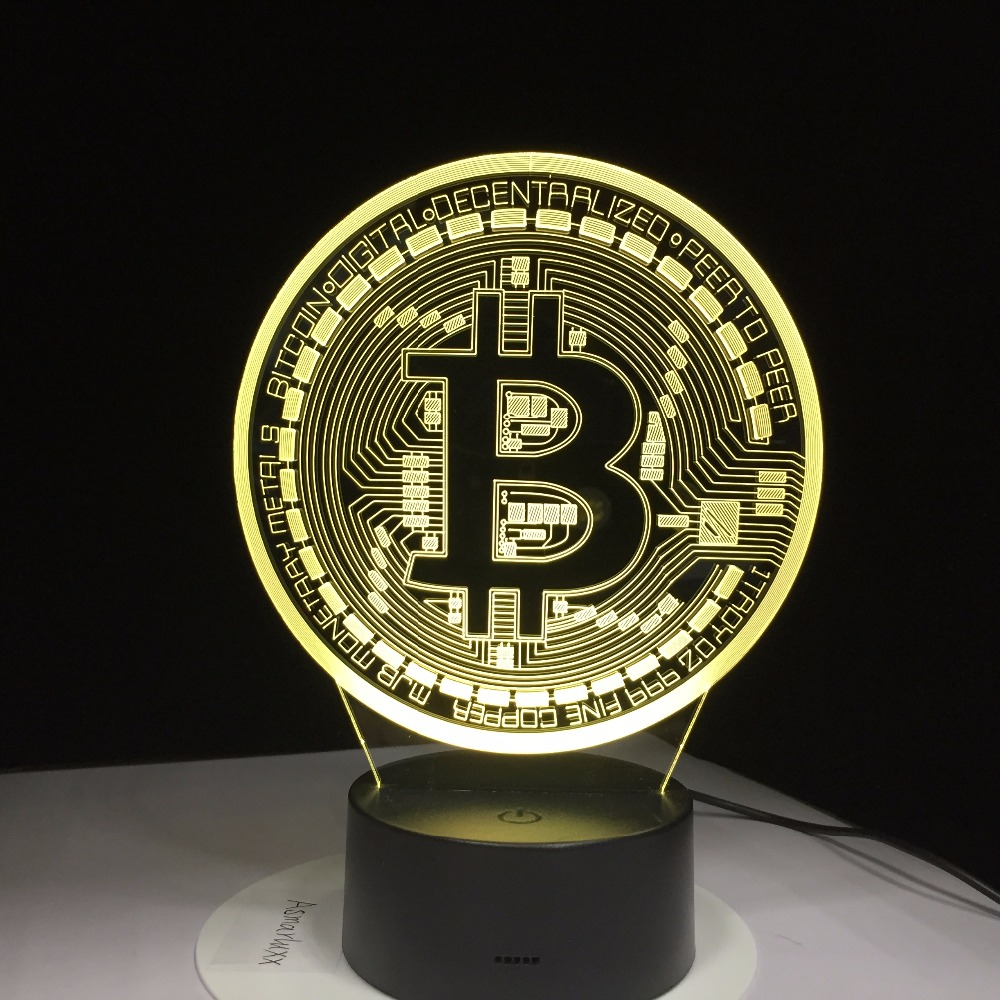 Remote Control 3D Led Bitcoin Sign Modelling Night Lights Colorful Usb Coin Symbol Desk Lamp Bedroom Sleep Lighting Decor Gifts