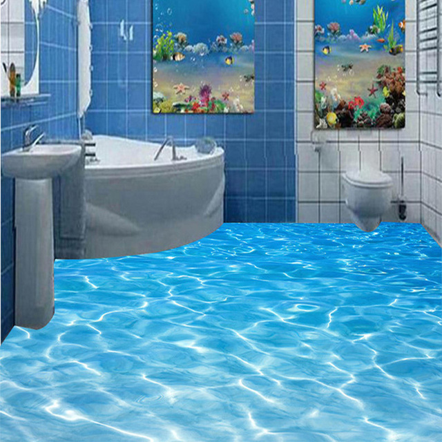 3d Flooring Photo Wallpaper Sea Waves Modern Design 3d Floor Tiles Mural Kitchen Bathroom Pvc