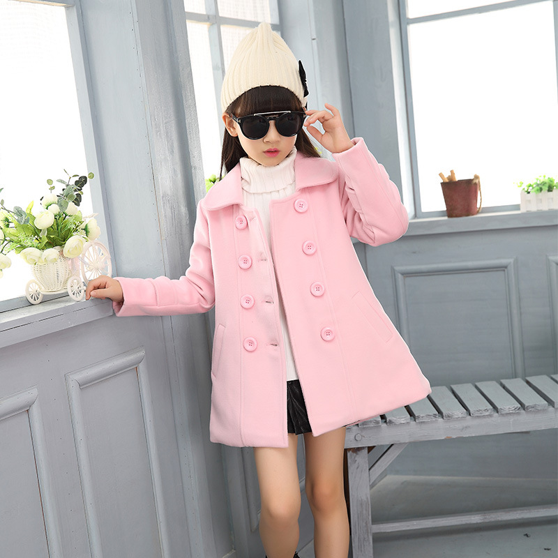 elegant kids baby girls wool coat 2017 autumn winter teenage girl coats and jackets children clothing outerwear fashion clothes kids winter jackets girls coats with hood waterproof girls coat autumn outerwear windbreaker pink children clothes 11 12years