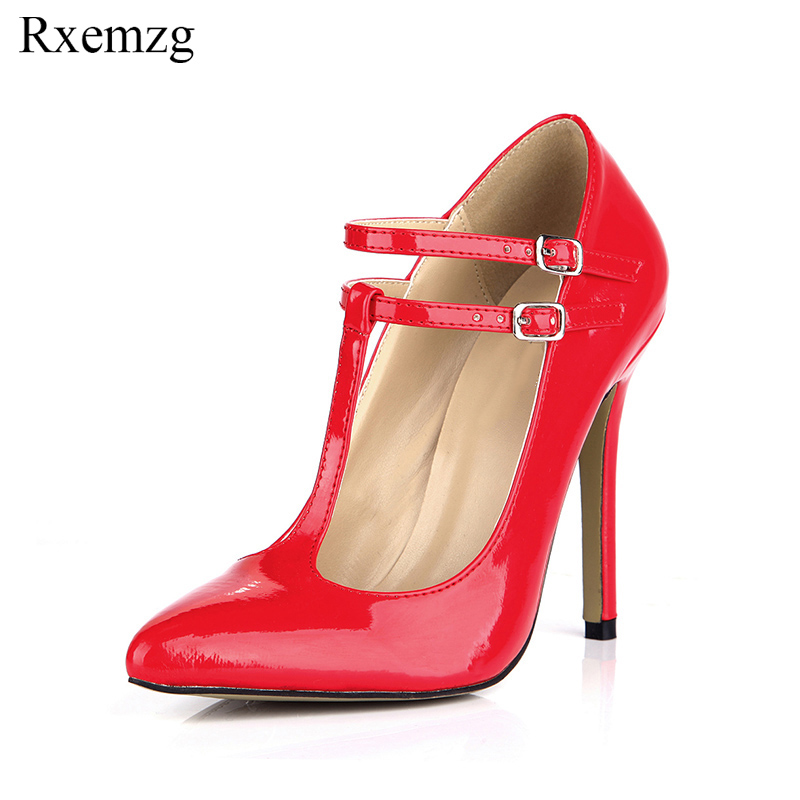 Rxemzg 2019 new fashion T-strap women shoes red stiletto pumps pointed toe high heels women bridal wedding shoes large size 43 women fashion patent pointed toe buckle strap stiletto shoes sexy cross strap red high heels pumps wedding dress shoes plus size