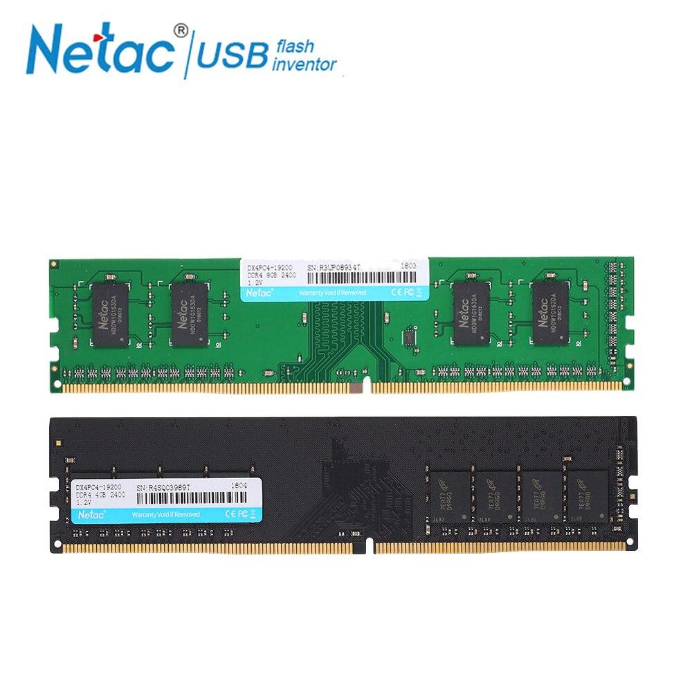 купить Netac DDR4 4GB 8GB Memory RAM high speed 2400MHz UDIMM 288-Pin 1.2V ddr4 memory ram For Desktop memory Intel PC RAMS gaming RAM по цене 2594.12 рублей