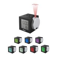 Baldr LCD Projectie Wekker Backlight Elektronische Digitale Projector Horloge desk Temperatuur display met 7 Kleur