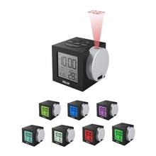 Baldr LCD Projection นาฬิกาปลุกอิเล็กทรอนิกส์โปรเจคเตอร์ดิจิตอลนาฬิกาโต๊ะจอแสดงผลอุณหภูมิ 7 สี