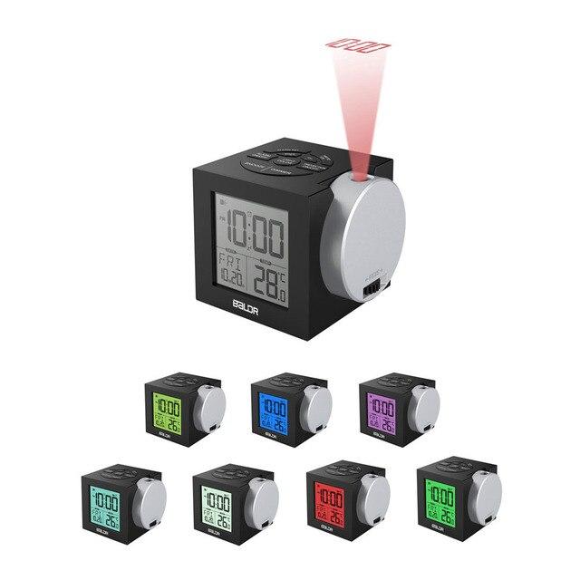 Baldr LCD Projeksiyon çalar saat Arka Işık Elektronik Dijital Projektör Izle masa Sıcaklık göstergesi ile 7 Renk